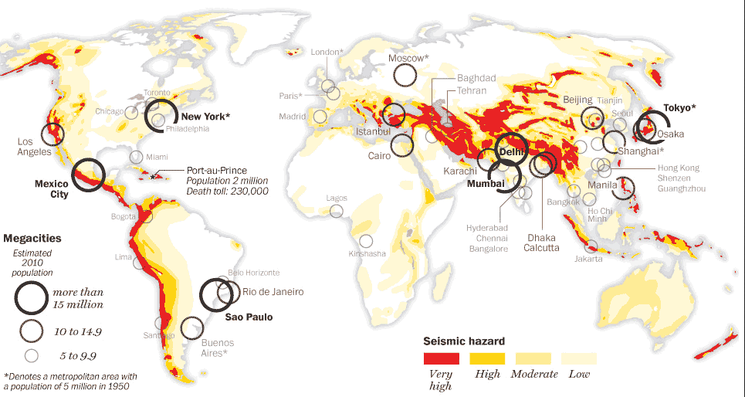 The impact of hazards on people and the environment igeogers the map below shows some of the most dangerous places to live high population densities combined with high seismic disaster suggests the possibility for a gumiabroncs Images